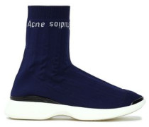 Stretch-knit High-top Sneakers Navy
