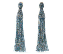 Gold-tone Beaded Clip Earrings Blue Size --