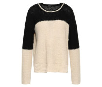 Intarsia Cotton-blend Sweater Beige