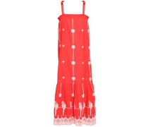 Fluted Embroidered Cotton Midi Dress Red