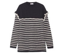 Ruffled striped wool-felt sweater
