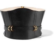 Embellished lizard-effect leather waist belt