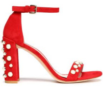 Faux Pearl-embellished Suede Sandals Red