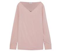 Bead-embellished silk-blend satin top