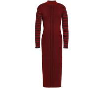 Striped Ribbed-knit Midi Dress Claret
