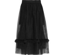Feather-trimmed Gathered Tulle Midi Skirt Black