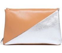 Suede And Leather Clutch Silver Size --