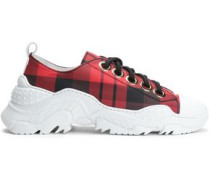Billy Leather-trimmed Printed Canvas Sneakers Brick