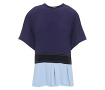 Woman Color-block Crepe Top Midnight Blue