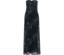 Strapless Layered Crepe And Floral-print Silk-chiffon Jumpsuit Black