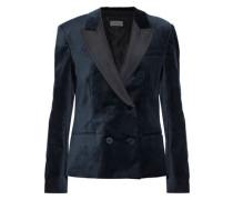 Faille-paneled cotton-blend velvet blazer