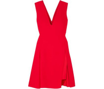 Layered Satin-crepe Mini Dress Red
