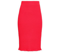 Ruffle-trimmed Knitted Pencil Skirt Crimson