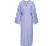 Woman Koda Belted Striped Cotton-poplin Midi Dress Light Blue