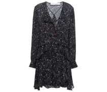Woman Honess Ruffled Printed Georgette Mini Dress Black