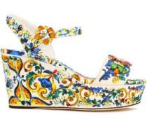 Embellished printed jacquard wedge sandals