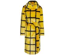 Woman Irina Checked Faux Fur Coat Yellow