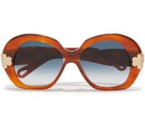 Woman Venus Round-frame Acetate Sunglasses Bright Orange
