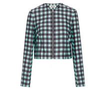 Gingham wool and silk-blend jacket