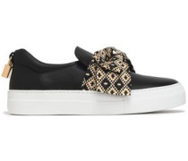 Bow-embellished leather slip-on sneakers