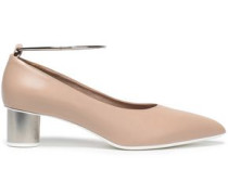Metallic-trimmed Leather Pumps Neutral
