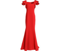 Ruffle-trimmed crepe gown