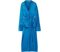 Kristin Tie-front Plissé Silk-satin Kimono Light Blue