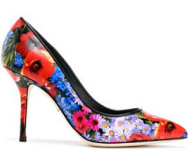 Kate floral-print glossed-leather pumps