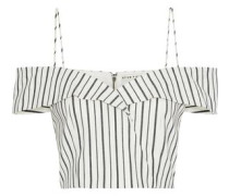 Haydee Cold-shoulder Striped Stretch-cotton Top Off-white