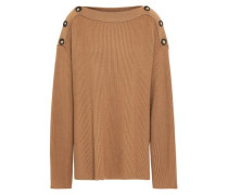 Oversized Button-embellished Ribbed Wool Sweater Light Brown