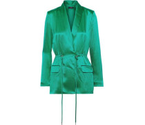 Wrap-effect Silk-satin Blazer Jade