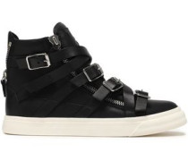 London Strap-detailed Leather High-top Sneakers Black