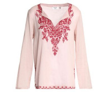 Embroidered Cotton-gauze Blouse Baby Pink