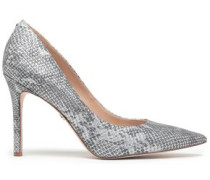 Metallic Snake-effect Leather Pumps Silver
