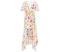 Asymmetric Floral-print Cloqué Midi Dress White