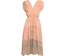 Athena Wrap-effect Tie-dyed Gauze Midi Dress Blush