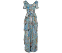 Shire Ruffled Printed Fil Coupé Georgette Maxi Dress Teal Size 12