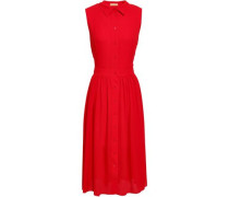Pleated Silk-crepe Dress Red Size 14