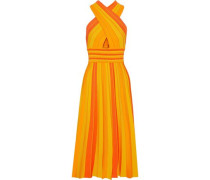 Woman Knotted Pleated Striped Stretch-knit Midi Dress Orange