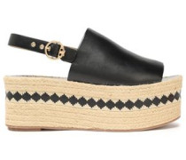 Leather platform espadrille sandals