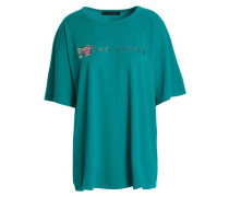 Glittered Printed Cotton-jersey T-shirt Turquoise