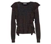 Lou Ruffled Metallic Stretch-knit Sweater Black