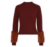Faux Fur-paneled Ribbed Wool Sweater Tan