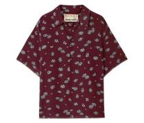 Woman Floral-print Silk-crepe Shirt Plum