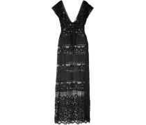 Lace-up Macramé Maxi Dress Black