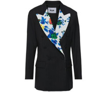 Double-breasted Floral-print And Pinstriped Wool Blazer Midnight Blue