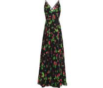 Floral-print Silk-voile Halterneck Maxi Dress Black Size 14