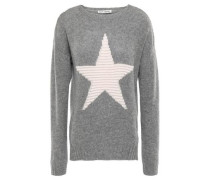 Intarsia Cashmere Sweater Gray