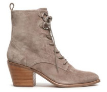 Lace-up Embroidered Suede Ankle Boots Taupe