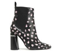 Drum Floral-print Leather Ankle Boots Black